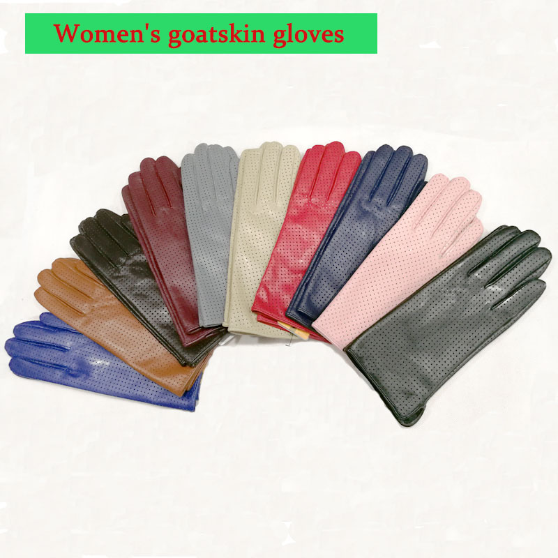 Goatskin Gloves Women's Spring Thin Rayon Lining Leather Perforated Style Repair Hand Breathable Summer Sheepskin Driving Gloves