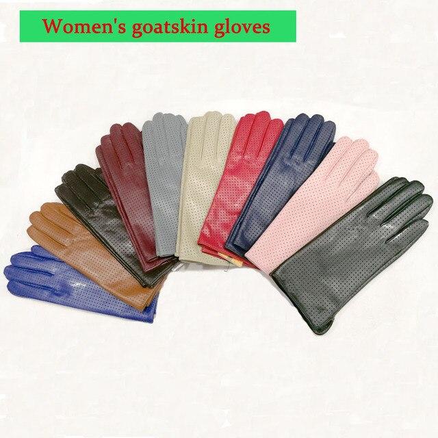ถุงมือหนังแพะผู้หญิงฤดูใบไม้ผลิบางเรยอนซับหนังสไตล์ Repair Hand ฤดูร้อน sheepskin ขับรถถุงมือ