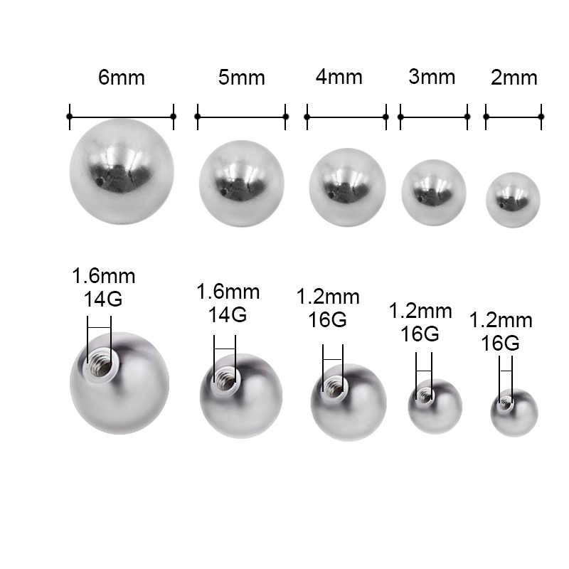 5 ชิ้น 2 3 4 5 6 8 มิลลิเมตรสแตนเลสสกรูเจาะ Ball เครื่องประดับเจาะชิ้นส่วน 14/ 16 กรัมลิปคิ้วลิ้น Belly Navel แหวน