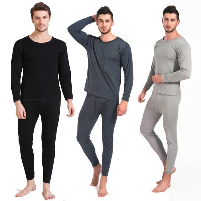 Сексуальные мужские Бархат Руно Внутренний Длинный Рукав Длинный Тепловой Набор Нижнего Белья Зимой Теплый Пижамы Одежда
