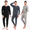 Sexy Men's Velvet Fleece Inner Long Sleeve Long Thermal Underwear Set Winter Warm Sleepwear Wear