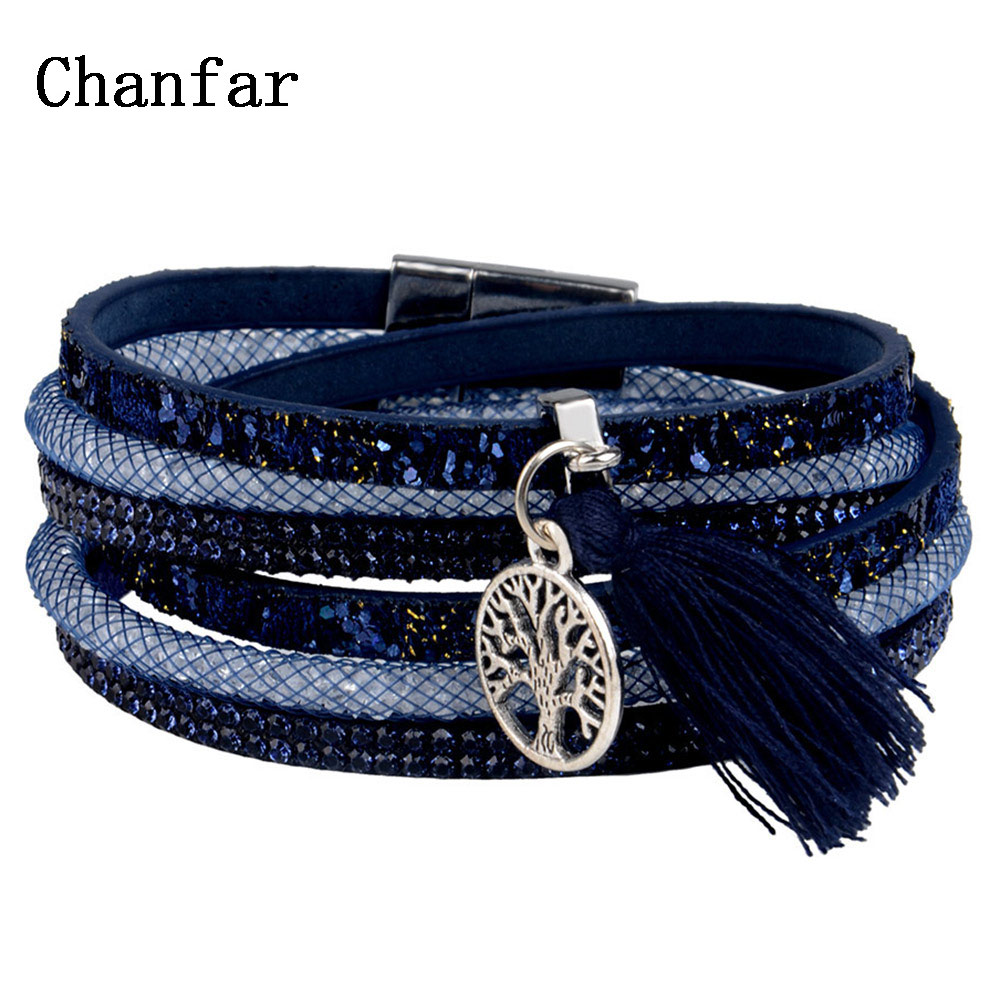 Multi layer leather Tassel bracelet with leaf tree anchor charms magnetic bracelet for men and women  jewelry   Браслет