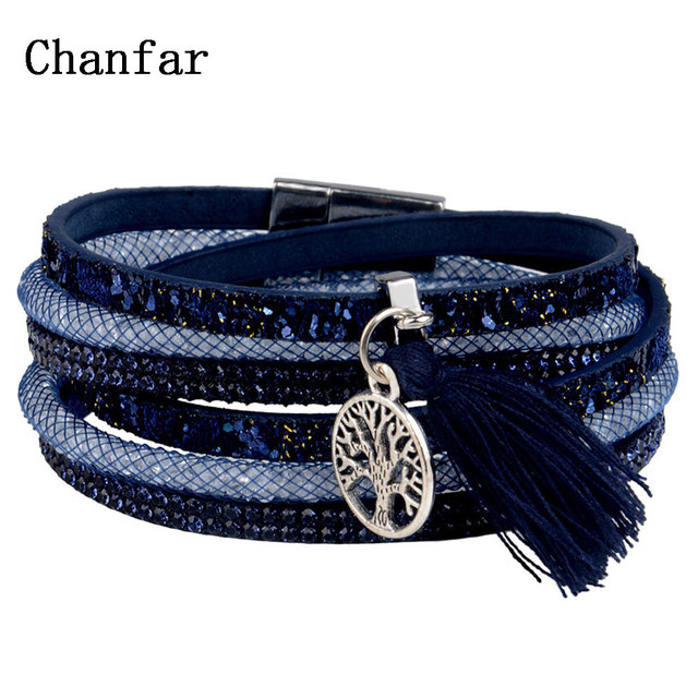 12Styles Multilayer Leather Tassel Bracelet Bohemian Feather Tree Charms Magneti