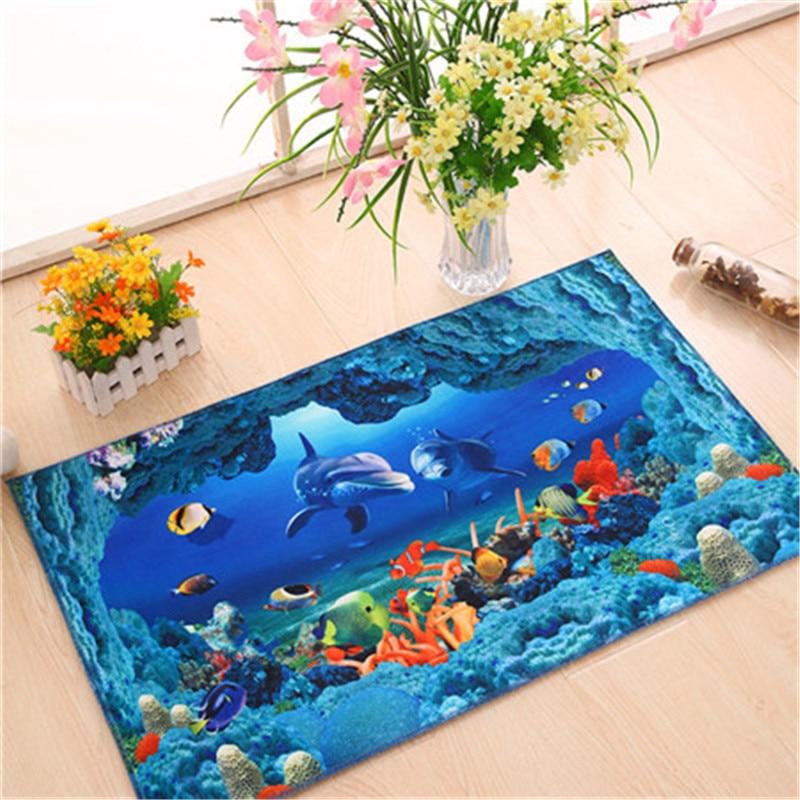 Antiskid 3D Floor Decal Cartoon Ground floor mat rug Home Decor 40*60CM 3D doormat bathroom water absorbent pads on sale