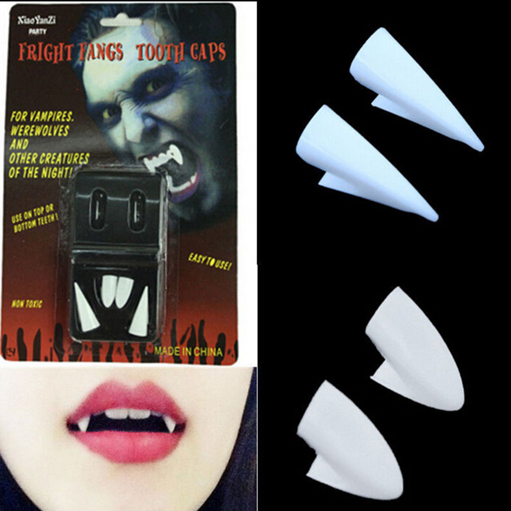 4 PCS/set Novelty Gag Toys Dress Vampire Teeth Halloween Party Dentures Props Vampire Zombie Devil Fangs Tooth