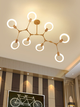 Modern Ring LED chandelier nordic living room pendant lamp bedroom fixtures stair lighting loft illumination oak hanging lights