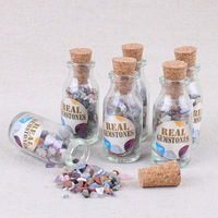 36PCS Creative home bottle crushed stone specimen decorated with natural mixed ore crystal broken stone.