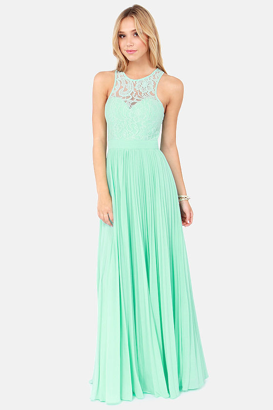c3e86003512 2014 Spring Mint Green Lace Maxi Dress Tank Straps Chiffon Long Formal  Evening Dresses Available Size 2 18-in Evening Dresses from Weddings    Events on ...