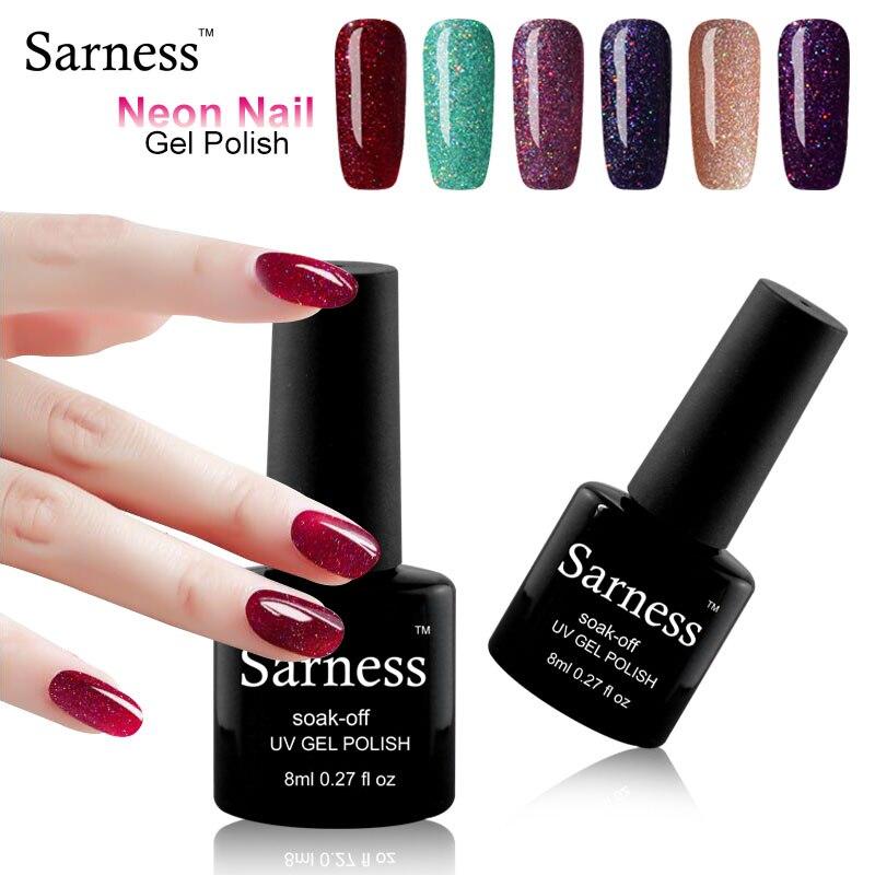 sarness Bling Neon Colors UV Gel font b Nail b font Polish Long Lasting Gel Lak