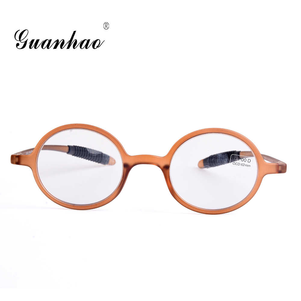 6953f5ea039f ... Guanhao Retro Ultralight Round Reading Glasses Man Women Resin Lens  Clear Toughness Frame Spectacles Gafas Presbyopia ...