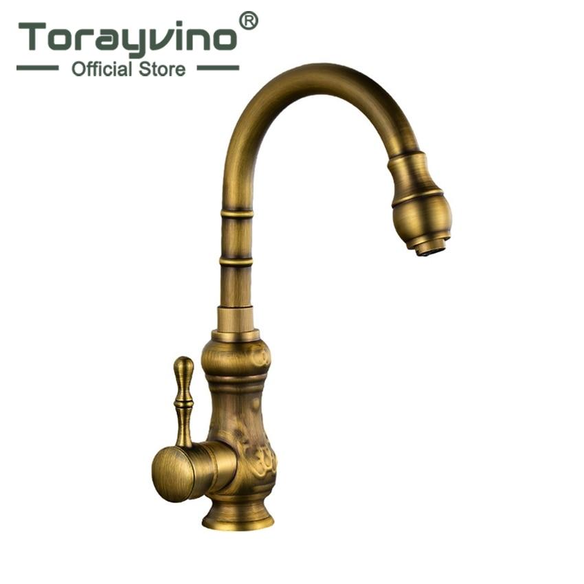 Torayvino Kitchen Faucet Antique Brass Basin Bathroom Faucet Swivel Spout Vanity Sink Mixer Single Handle Tormeira Cocina Faucet