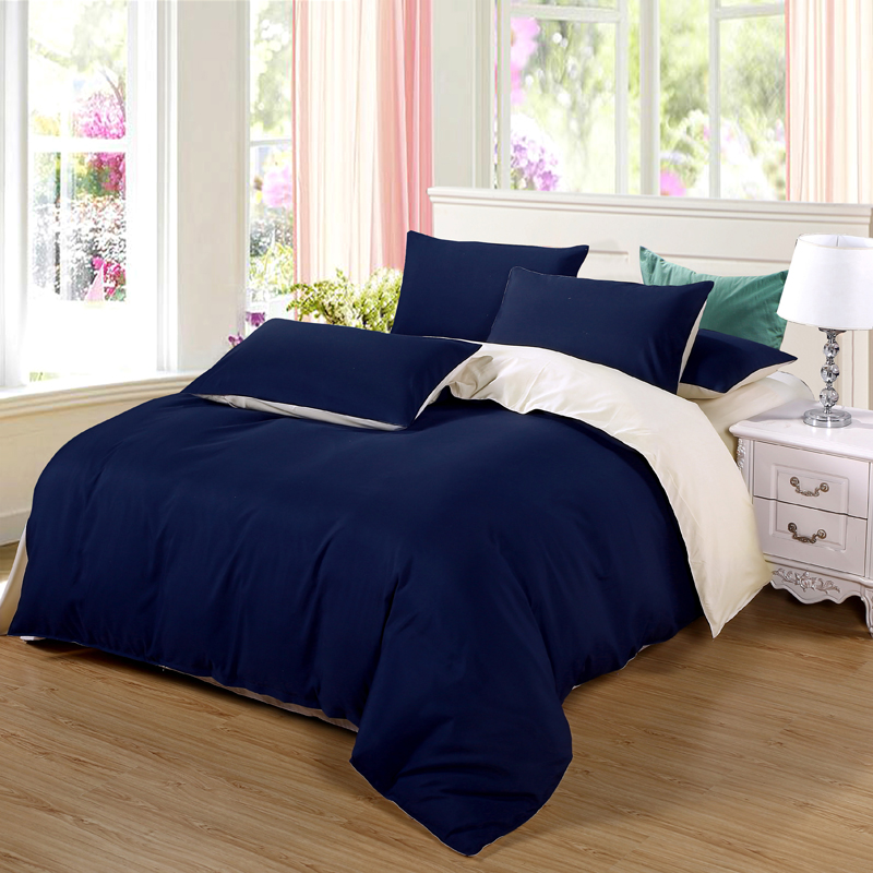 AB side bedding set super king duvet cover dark blue +beige 3/ 4pcs bedclothes adult bed man flat sheet 230*250cm55