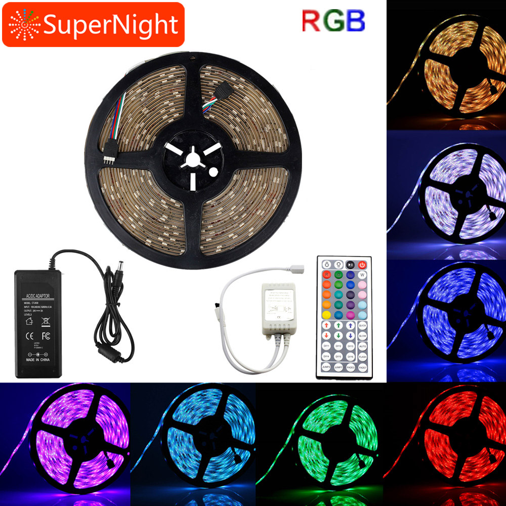 SuperNight 10M RGB LED Strip Kit DC24V SMD5050 300LEDs Waterproof IP65 Night Light+44 Keys IR Remote Controller+72W Power Supply good group diy kit led display include p8 smd3in1 30pcs led modules 1 pcs rgb led controller 4 pcs led power supply