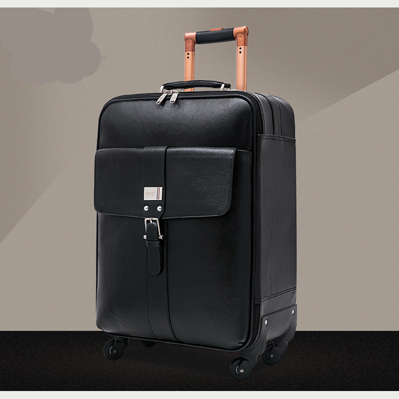 Letrend 100% Genuine Leather Rolling Luggage Spinner business 16 inch Carry On Trolley Travel Bag Men Suitcases Wheels Trunk