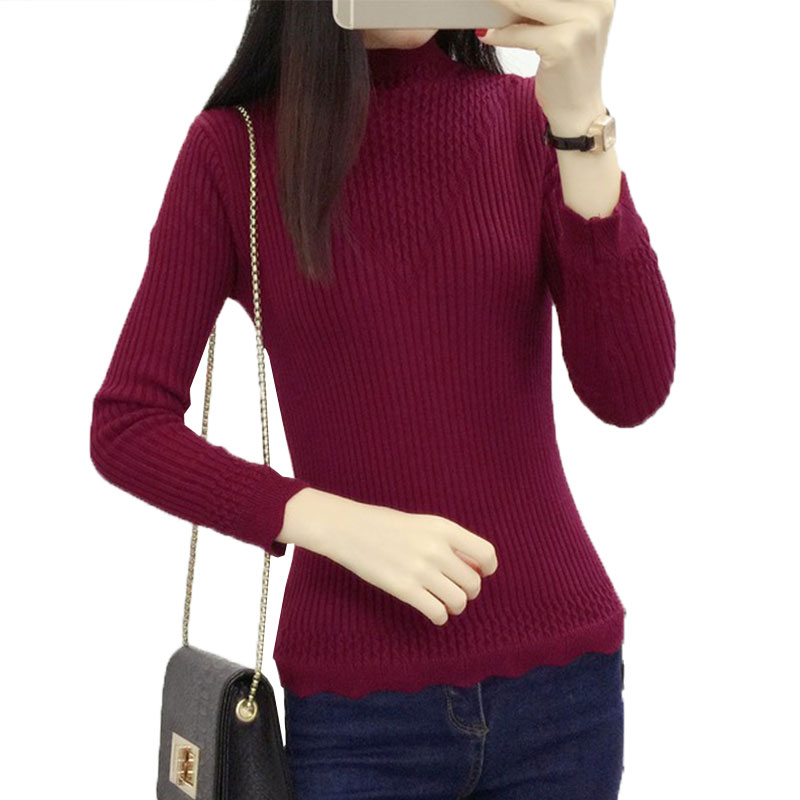 Winter Sweater Pullovers Female 2018Long-Sleeved Warm Plus Cashmere Turtleneck Sweater Large size Women Christmas Sweater LJ176