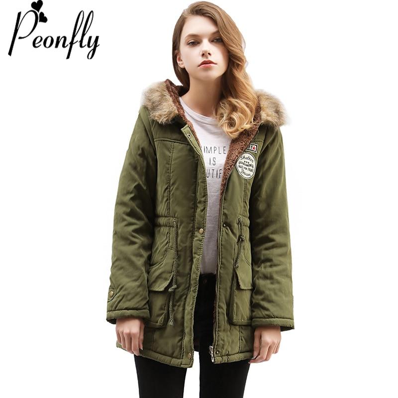 PEONFLY Winter Women Fashion Wadded Jacket Female Zipper Outerwear Hooded Coat Long Cotton Padded Fur Collar   Parkas   Plus Size
