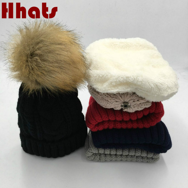 927ec5869 US $5.92 20% OFF|which in shower faux fur pom pom children winter hat thick  warm fleece lining cable knitted beanie cap kids boy girl gorras -in ...