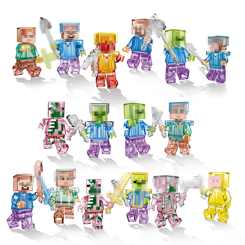 16PCS/Set Crystal Zombie Steve Figurine Building Block Compatible with Legoings Minecrafted Brick Kids Toys for Children Figures16PCS/Set Crystal Zombie Steve Figurine Building Block Compatible with Legoings Minecrafted Brick Kids Toys for Children Figures
