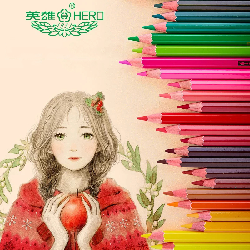 HERO 72 Cores Aquarela Rainbow Pastel do Lápis Conjunto de Lápis de Cor Solúvel Em Água De Couleur Kawaii Hb Lápis de cor para a Escola