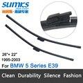 """Wiper blades para bmw série 5 e39 saloon (1995-2003)/Touring (1997-2004) 26 """"+ 22"""" fit deslize os braços do limpador de trava só HY-E39"""