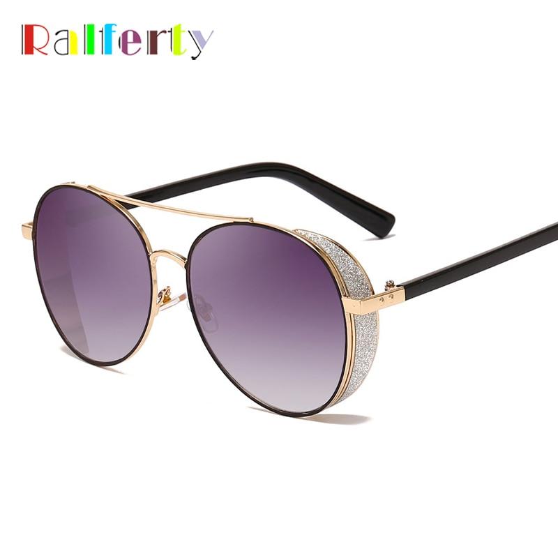 Ralferty Sunglasses Women Luxury Brand 2019 UV400 Oversized Round Sun Glasses Female Bling Glitter Sunglases Retro Shades R8962