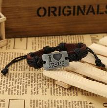 creative I love Jesus leather bracelet braided leather bracelet for men and women punk Student letter  hand rope cool stylish i love jesus bracelet brown