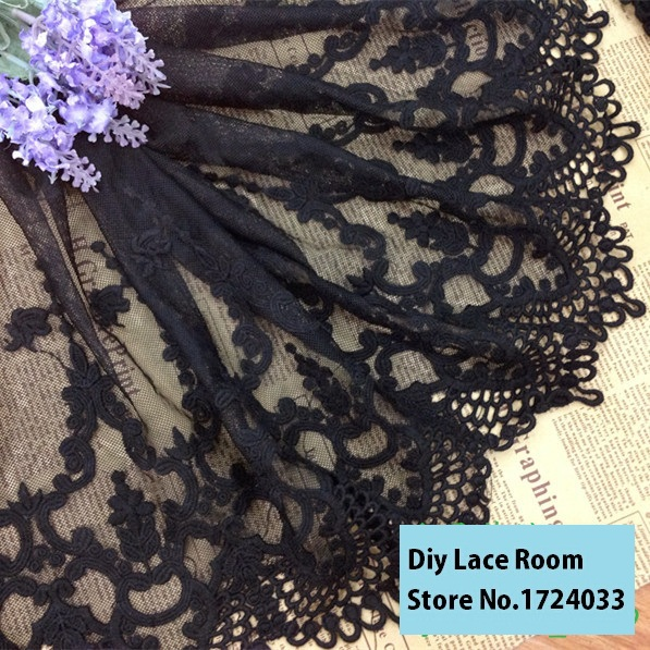 Free shipping 1yds/pack 30cm White/black Cotton Lace Trimming /Fabric Embroidery Lace DIY Handmade Accessary Z933