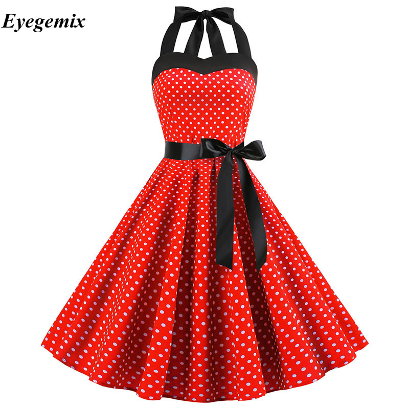 1940s WW2 Retro Vintage Style Red Polka Dot Belted A-Line Shirt Dress NEW 8-28