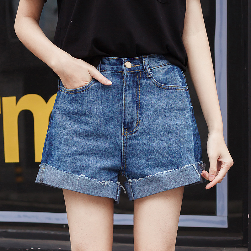 New Womans Shorts jeans shorts Female High Waist Roll Up Loose Jeans Summer Denim Shorts WN35