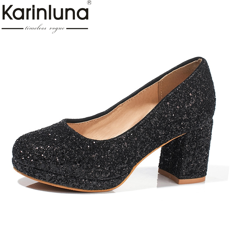 KarinLuna Women's Shinning Chunky Heels Round Toe Platform Shoes Woman Party Wedding Casual Shoes Pumps Big Size 30-43 baoyafang white and red womens wedding shoes bowknot bride high heels platform shoes round toe big size female shoes woman pumps