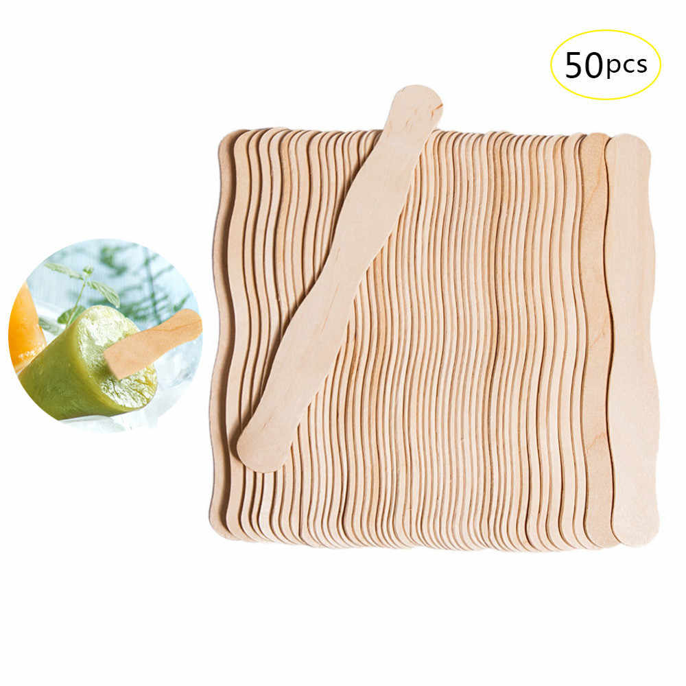 50Pcs/Lot Wave Shaped Ice Cream Sticks Natural Wooden Popsicle Stick Kids  DIY Hand Crafts Art Ice Cream Lolly Cake Tools