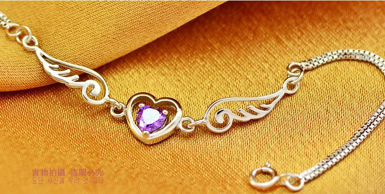Wholesale 925 sterling silver romantic angel wings crystal ladies bracelet jewelry female wedding gift drop shipping cheap in Charm Bracelets from Jewelry Accessories