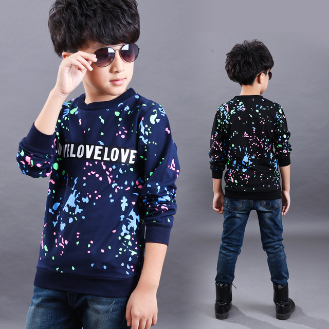 Funny Spring Autumn Wear T Shirt Boy Names Top 100 Ink Long Sleeve Children Thickening