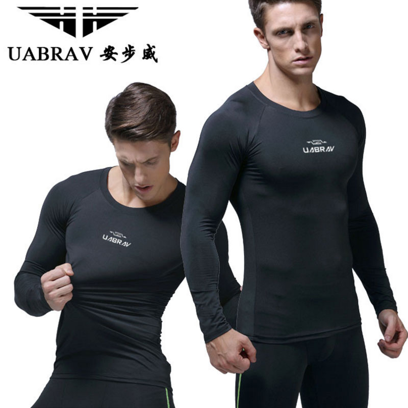 UABRAV Mens Fitness Training T-shirts Long Sleeve Layer Tee Shirt Quick Dry Compression Tops Slim Flexible Exercise T-shirts ...