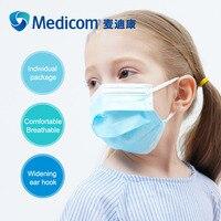Медицинские маски для малышей, детей, детей, одноразовые нетканые противопылевые маски для рта в индивидуальной упаковке, многократная защ...