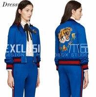Топ QualityNew Высокая Талия Для женщин Бейсбол куртка осень синий Короткое пальто Элитный бренд вышивкой повседневная одежда