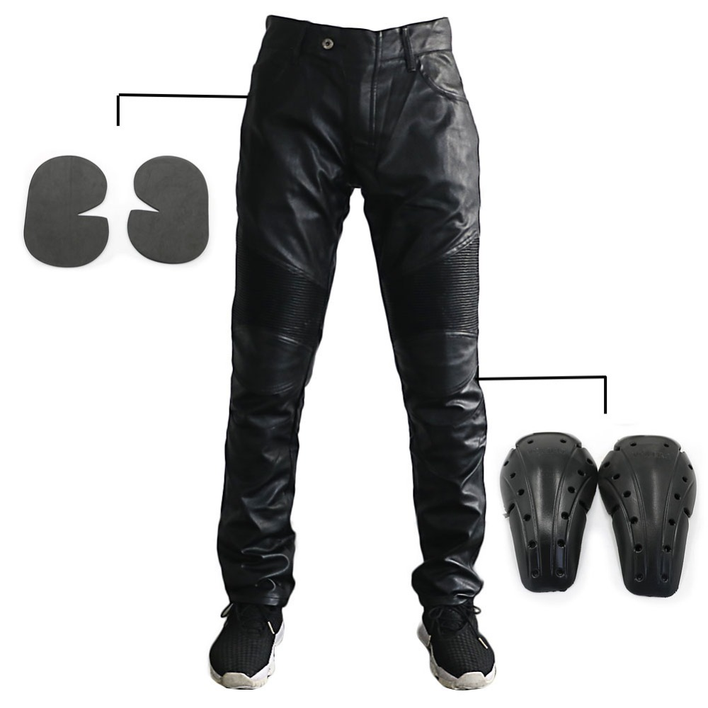 Men 's Motorcycle Riding Biker Breathability PU Leather Trousers Black Pants Soft Knee Hip Guards Protection Pads Motorbike
