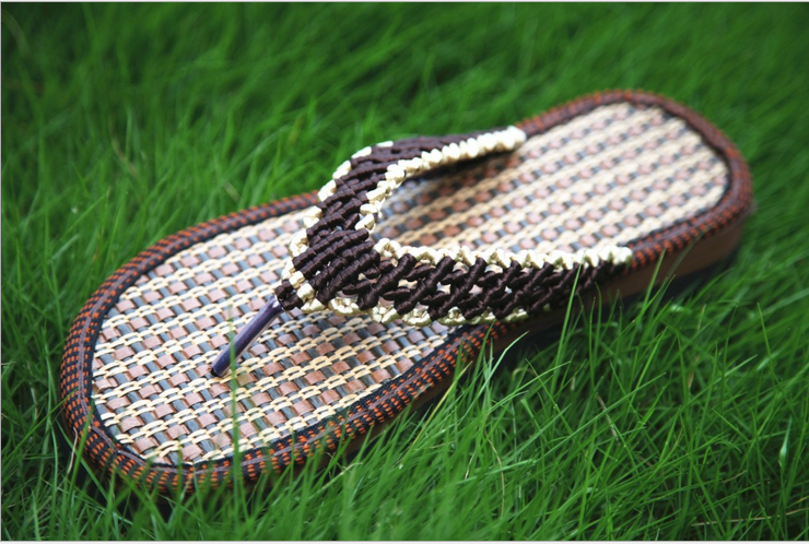 Bohemia National Style Linen Woven Straw Sandals All Match -4858
