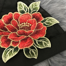 FREE SHIPPING Sheer Mesh Crop Top Floral Embroidery JKP422