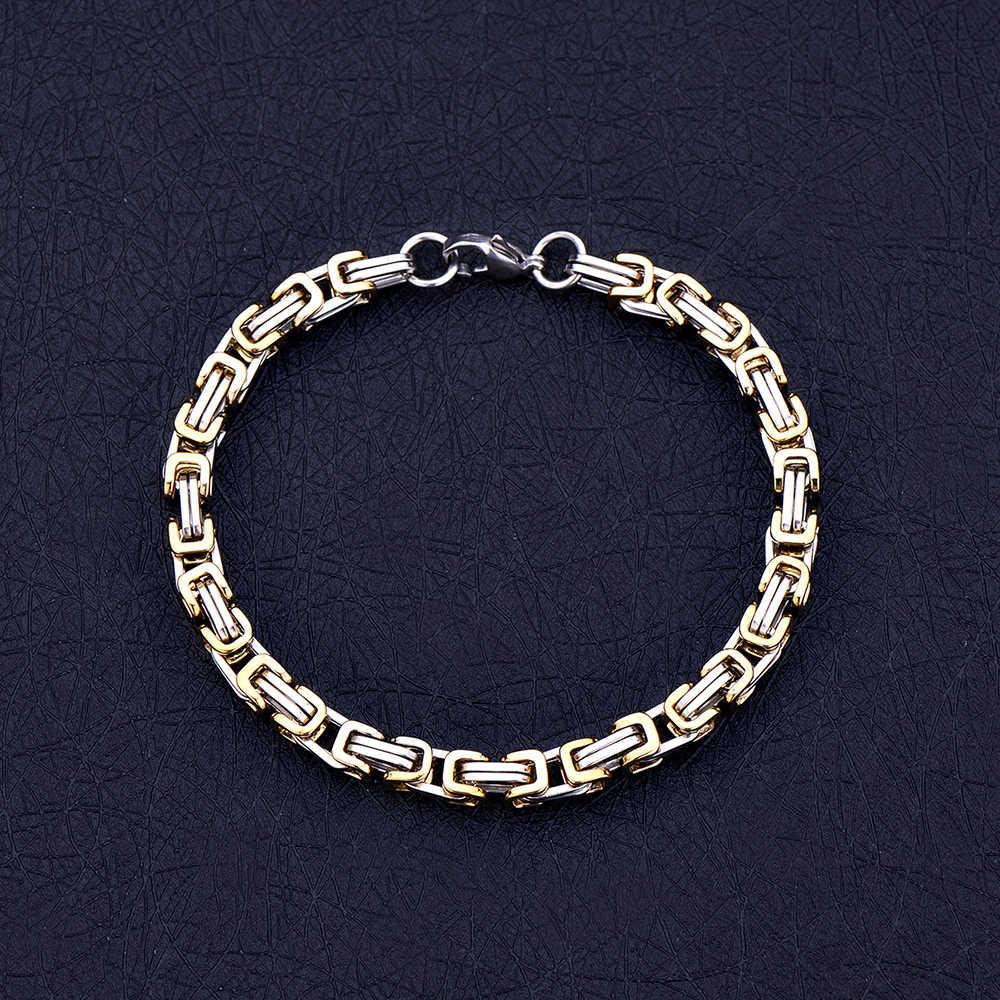 Gorąca sprzedaż męska bransoleta z tytanu stali srebrny złoty czarny kolor cesarz łańcuch bransoletka biżuteria prezent na boże narodzenie drop ship
