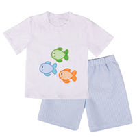 Fashion New Design Toddler Boy Clothing Set Summer Embroidery Boutique Green Plaid Shorts Baby Remake Outfits