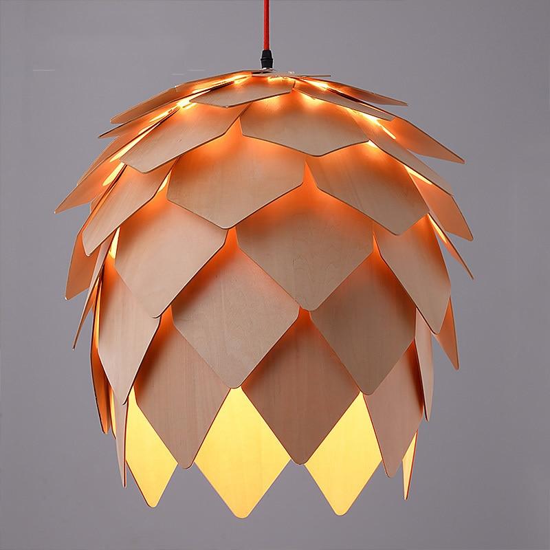 ФОТО Home Dining Room Pinecone Pendant Lamps Modern Wooden PH Artichoke Restaurant Coffee Bedroom Art Study Cafe Wood Lamparas Lights