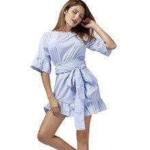 New fashion personality irregular ruffles sleeves blue stripes high waist casual womens belt sexy dress