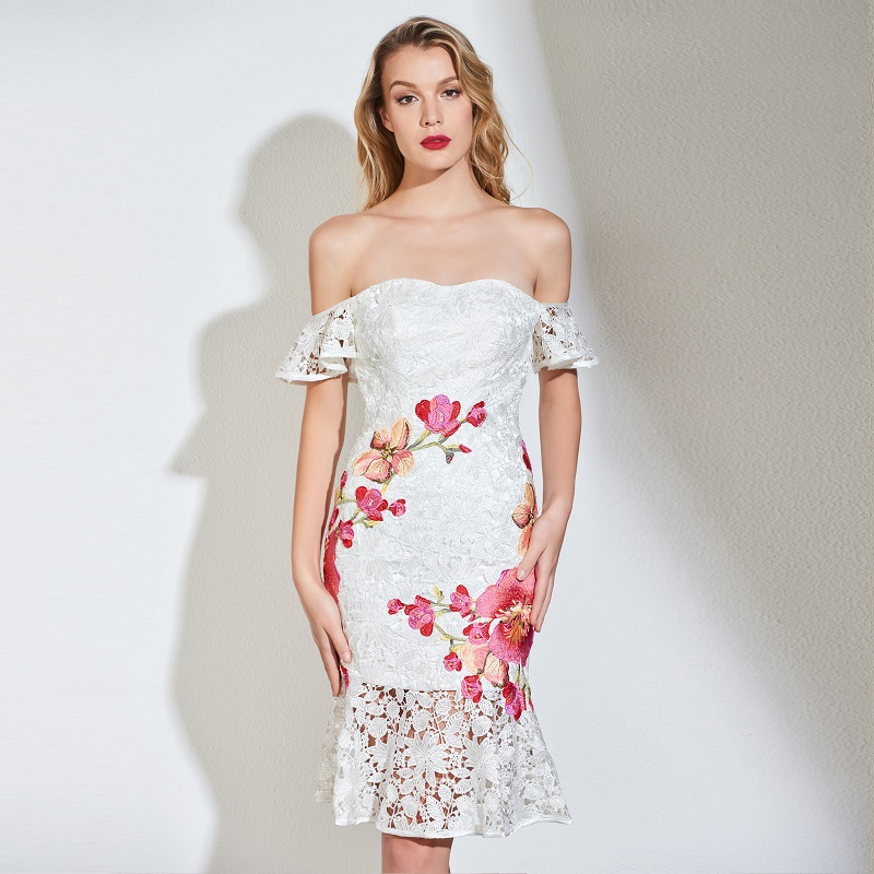 Tanpell Off The Shoulder Cocktail Dress White Appliques Above Knee Mermaid Gown Women Party Customed Short Lace Cocktail Dresses