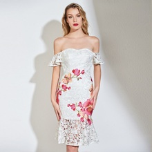 Tanpell off the shoulder cocktail dress white appliques above knee mermaid gown women party customed short lace dresses