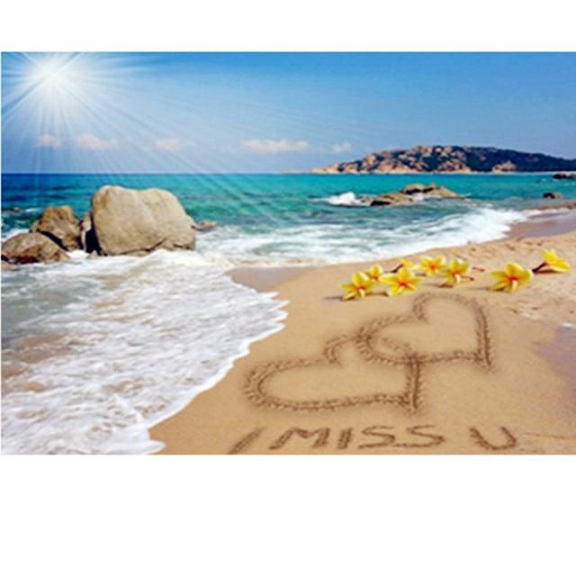 Zee Liefde Strand Ik Miss U 3d Diy Diamond Schilderen Cross