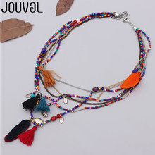 JOUVAL Ethnic Bohemian Feather Pendant Necklace for Women Multilayer Beads Chain Maxi Collier Spring Summer Travel Women Jewelry(China)