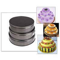 3 CÁI Round Shape Nướng Khuôn Cookie Hãng Sản Xuất Bánh Springform Pan Set Non-Stick Bakeware Tool NHT17003