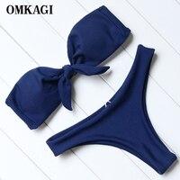 OMKAGI Strapless Bikini Push Up Padded Swimsuits Knot Front Low Waist Biquini Swimwear Women Solid Bikini