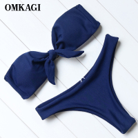 OMKAGI Strapless Bikini Push Up Padded Swimsuits Knot Front Low Waist Biquini Swimwear Women Solid Bikini